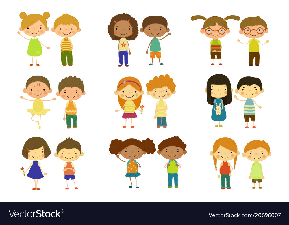 Boys and girls set cute happy little kids vector image