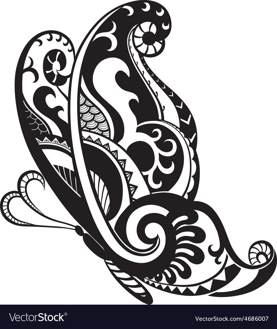 butterfly with ornaments in the style of the maori rh vectorstock com ornements vectoriel gratuit ornaments vector illustrator