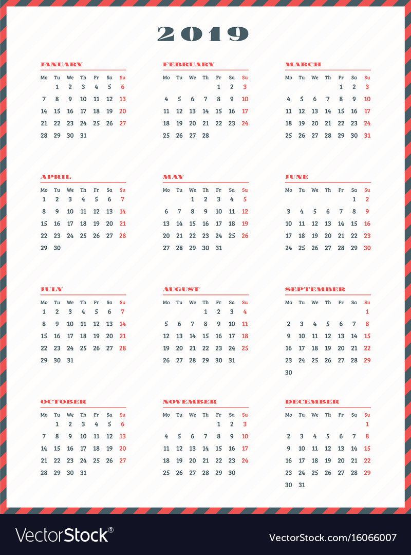 Calendar for 2019 year week starts monday