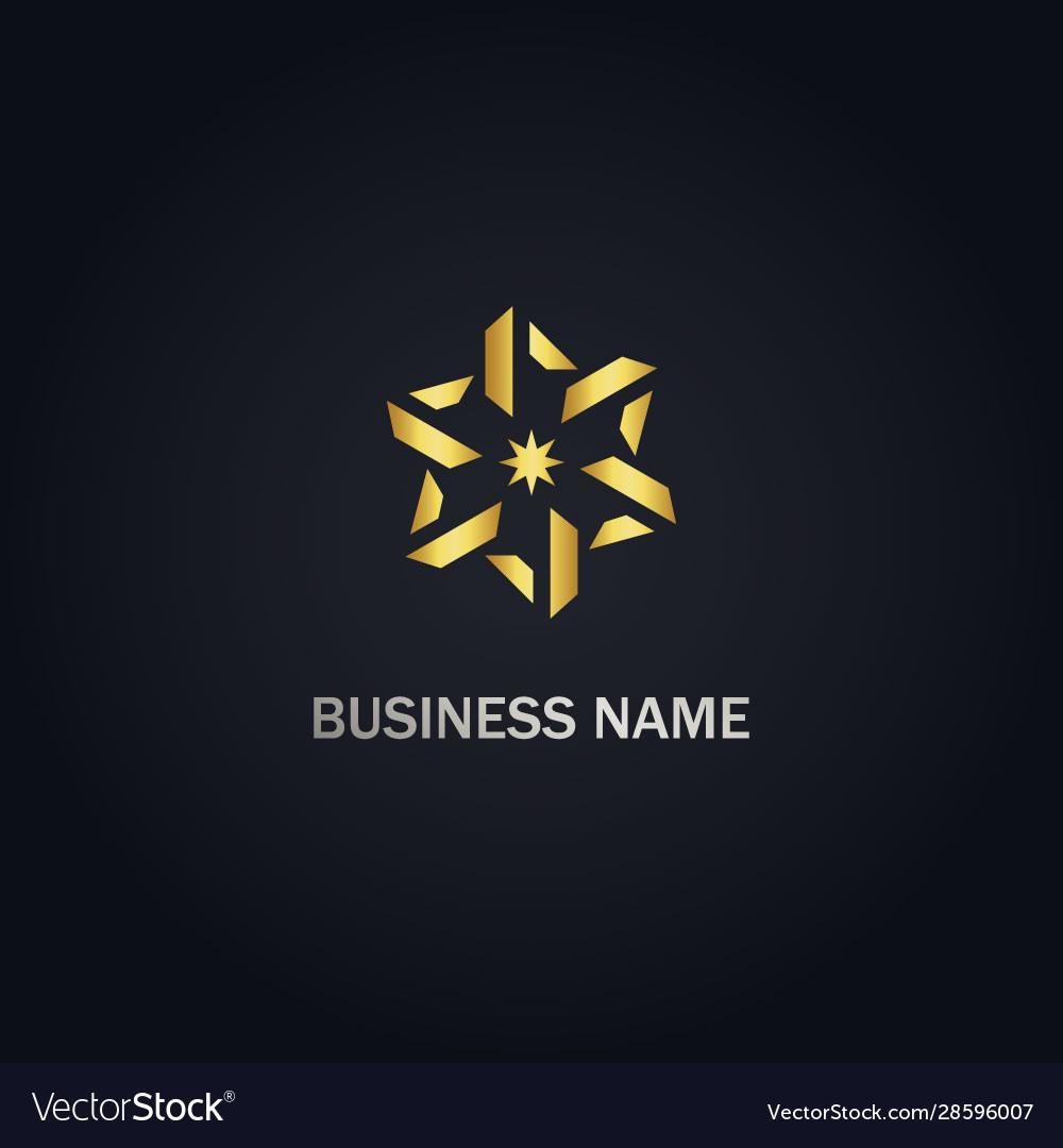 Circle geometry star gold logo