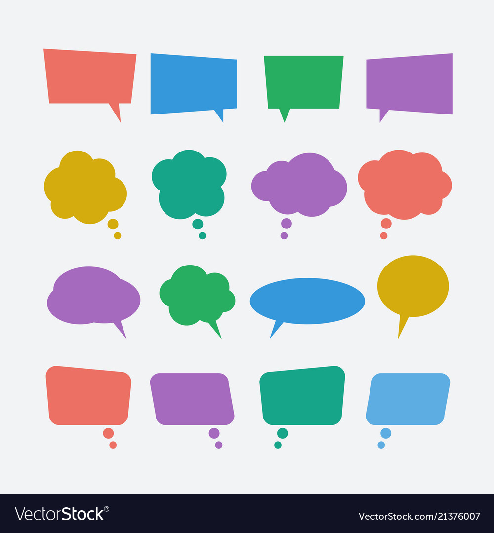 Colored speech bubble icons set