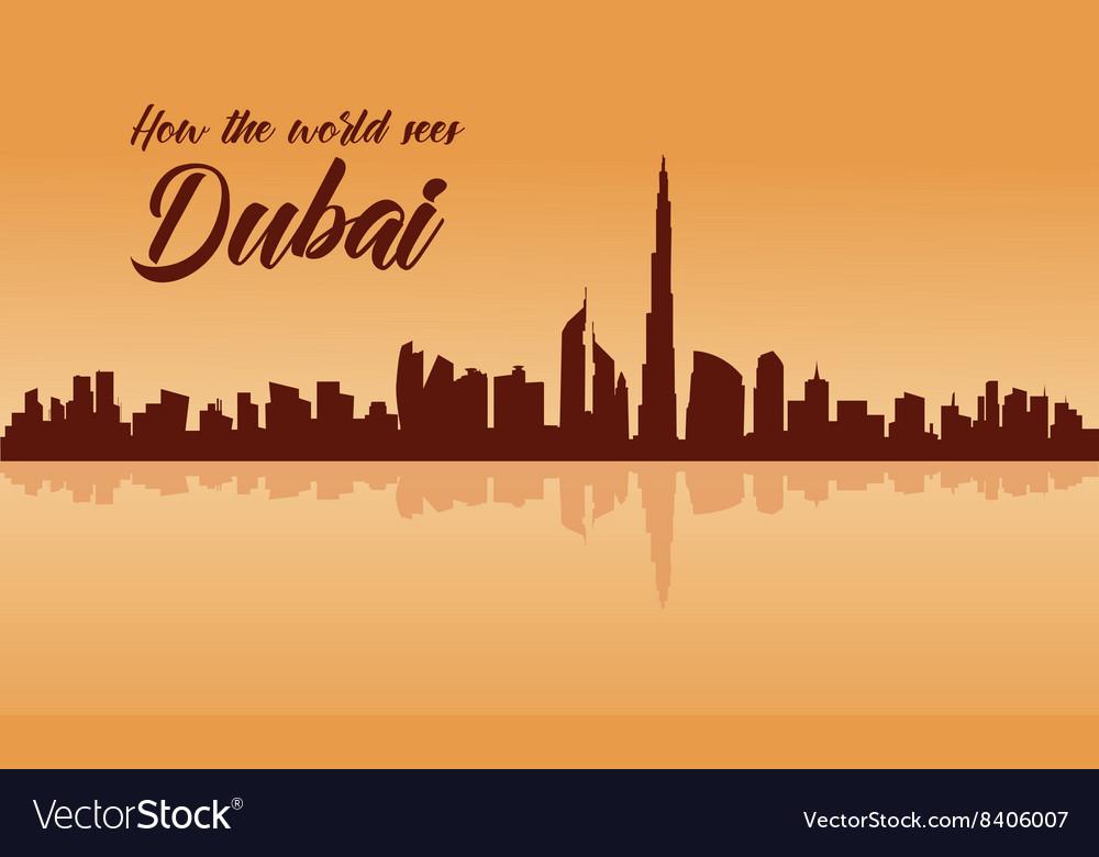 Dubai city skyline silhouette with brown