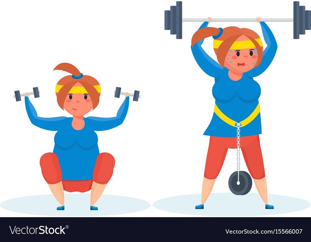 Full girl engaged in sports exercises vector image