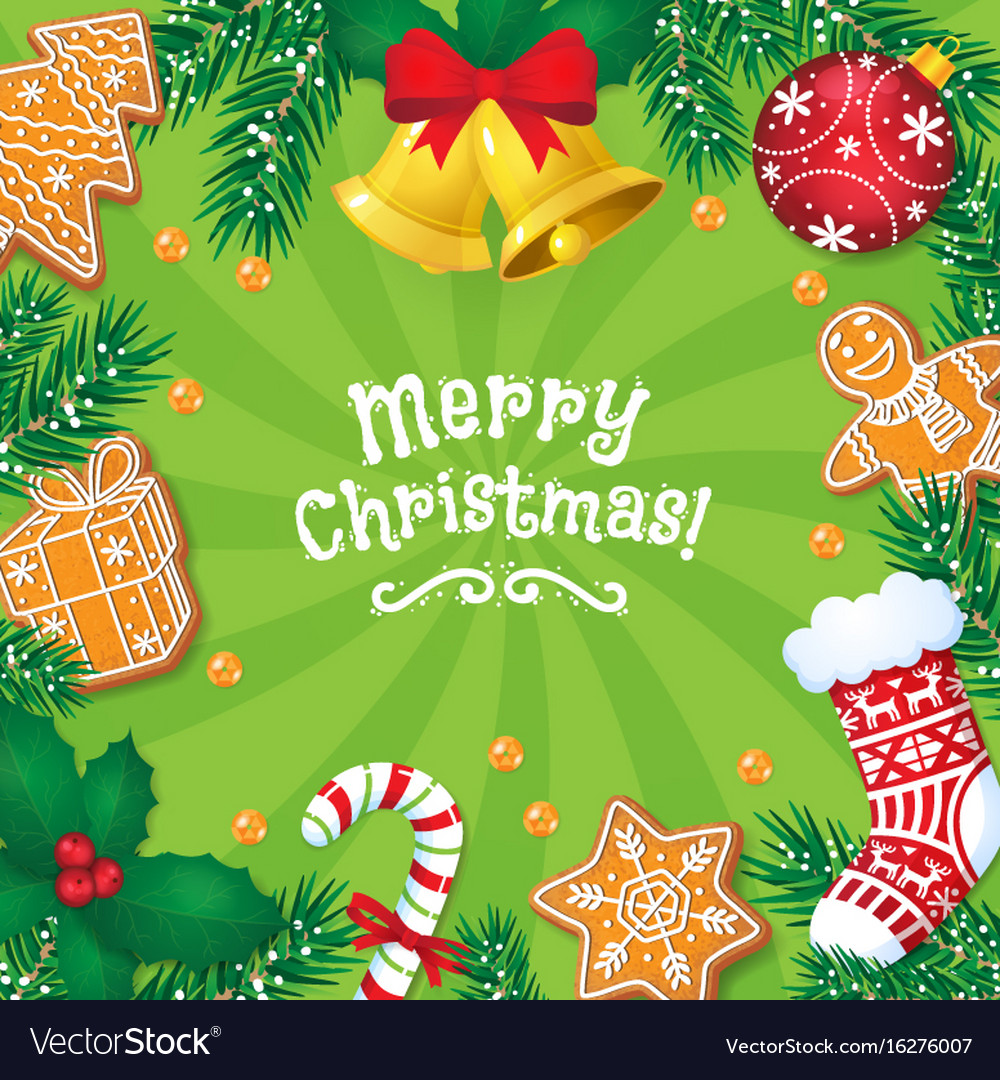 Greeting Card Banner With Christmas Decorations
