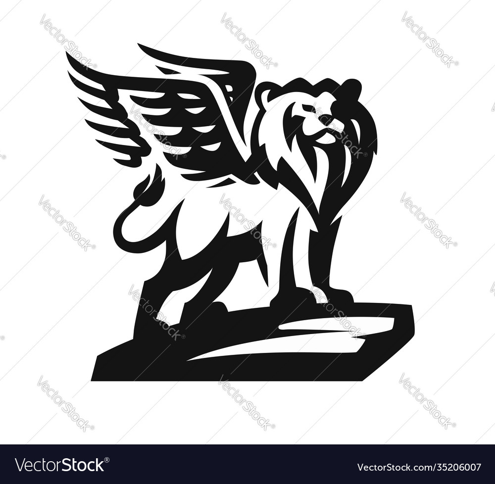 Lion with wings emblem on white background