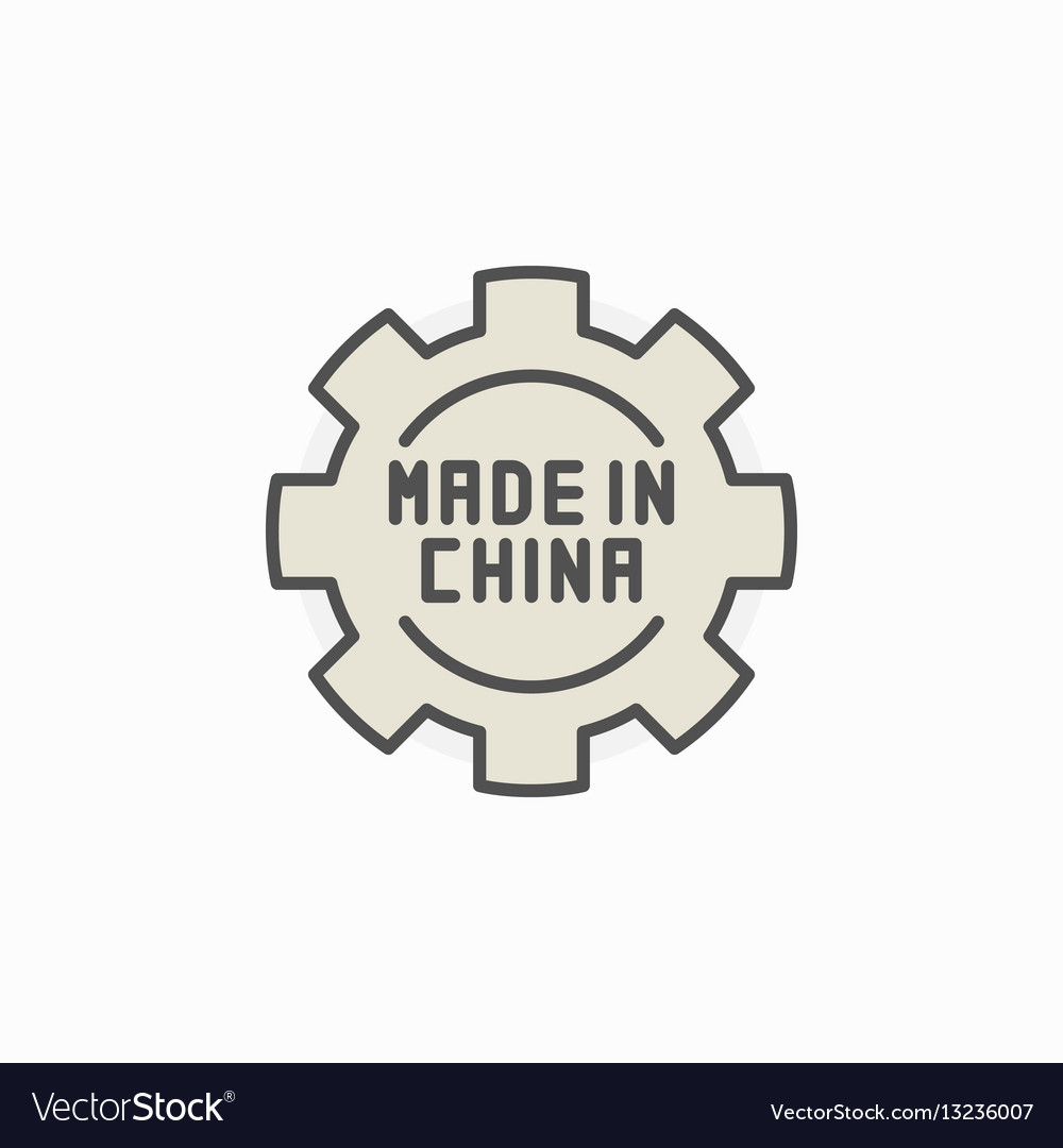 Made in china gear colored icon vector image