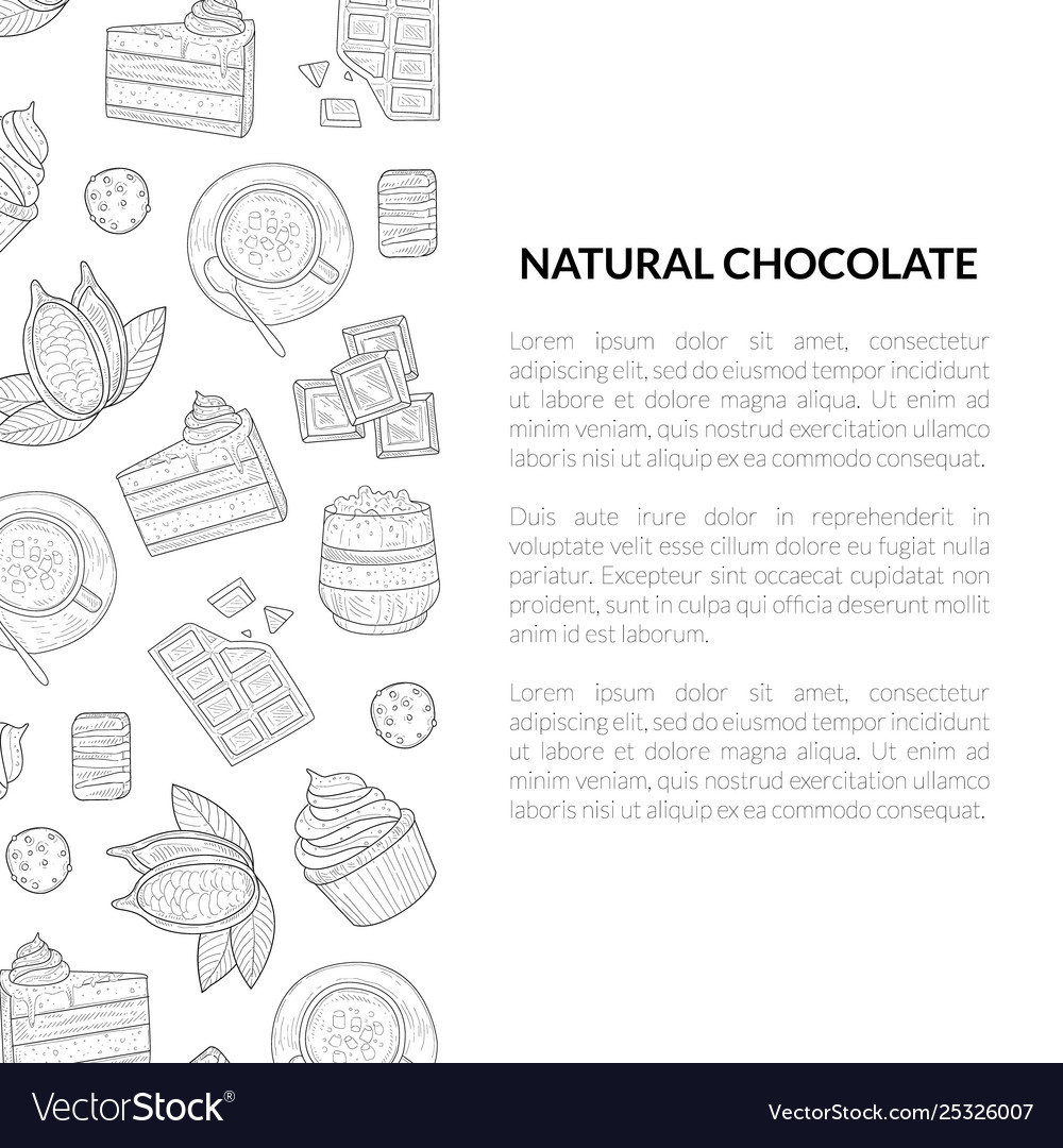 Natural chocolate banner template with hand drawn vector