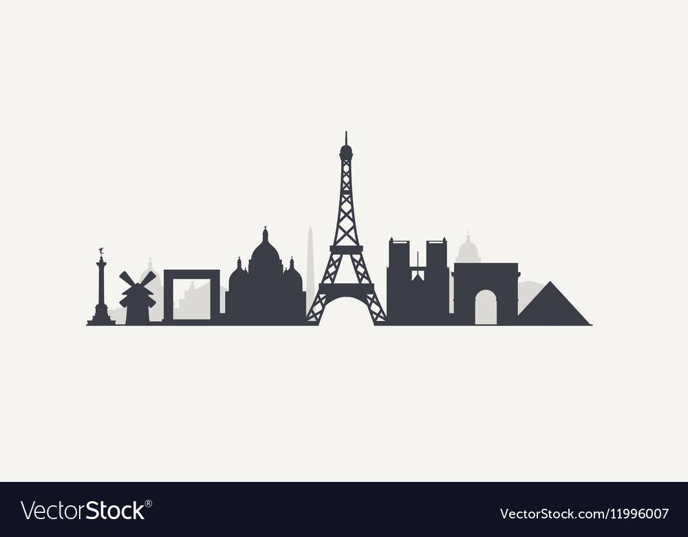 paris skyline royalty free vector image - vectorstock  vectorstock