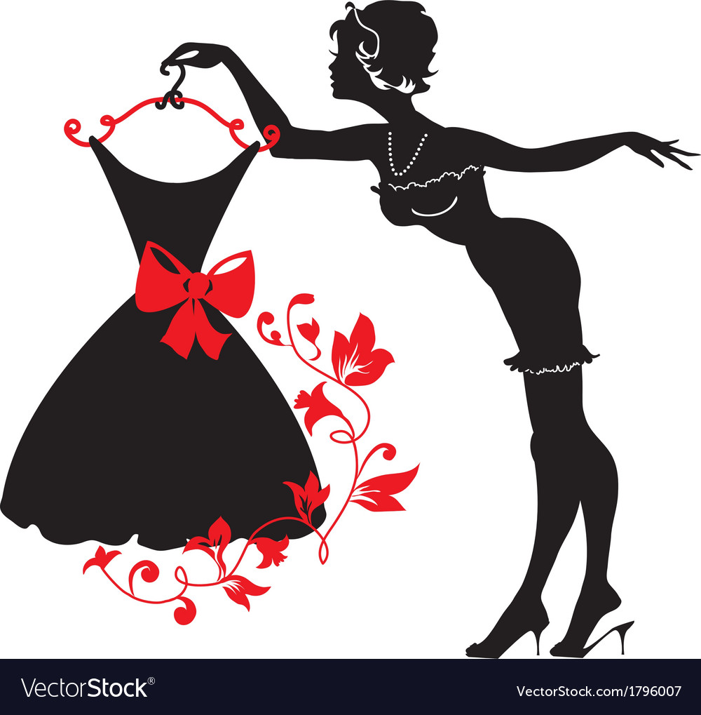 Pin up woman silhouette vector image