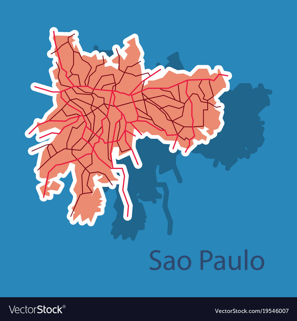Sao paulo brazil sticker map isolated on vector image gumiabroncs Image collections