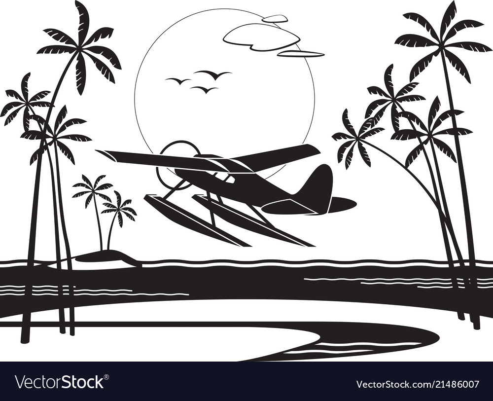 Seaplane taking off from an island in the ocean
