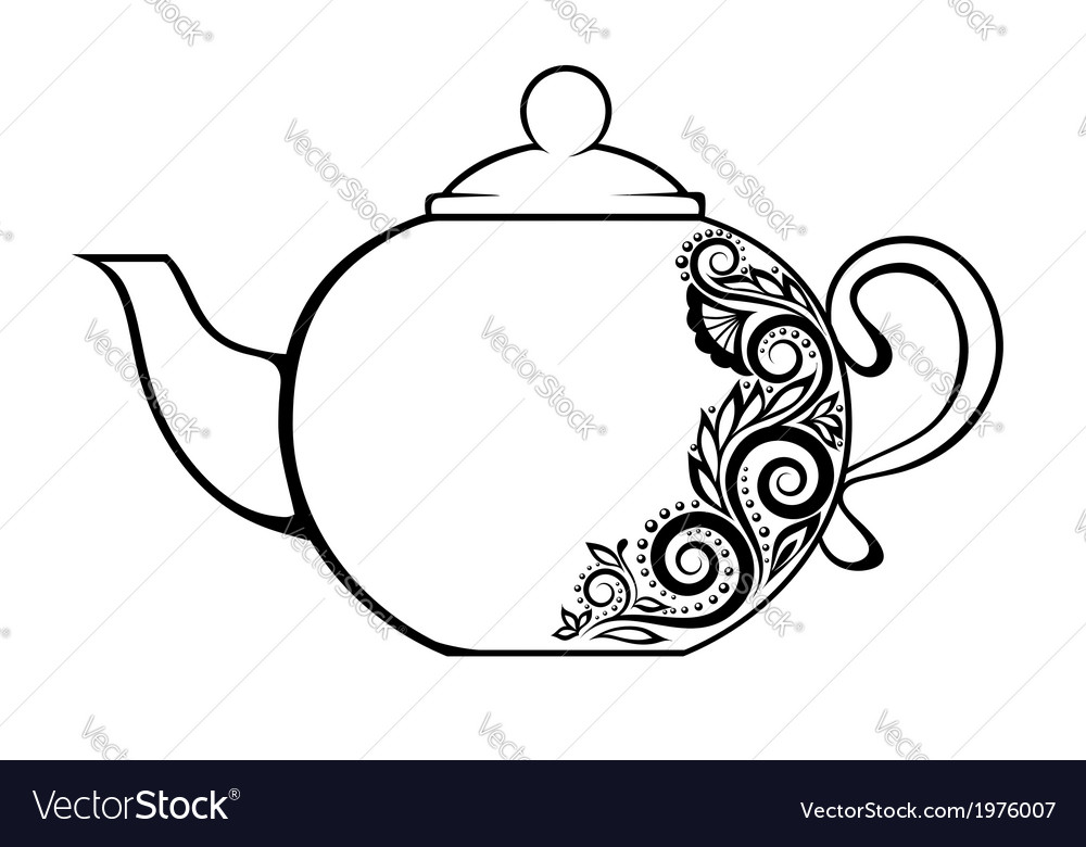 Teapot decorated black and white floral ornament