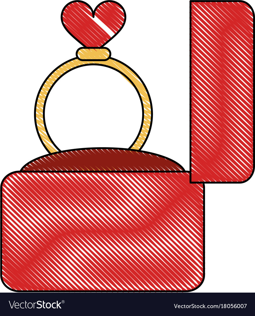 Wedding ring in box Royalty Free Vector Image - VectorStock