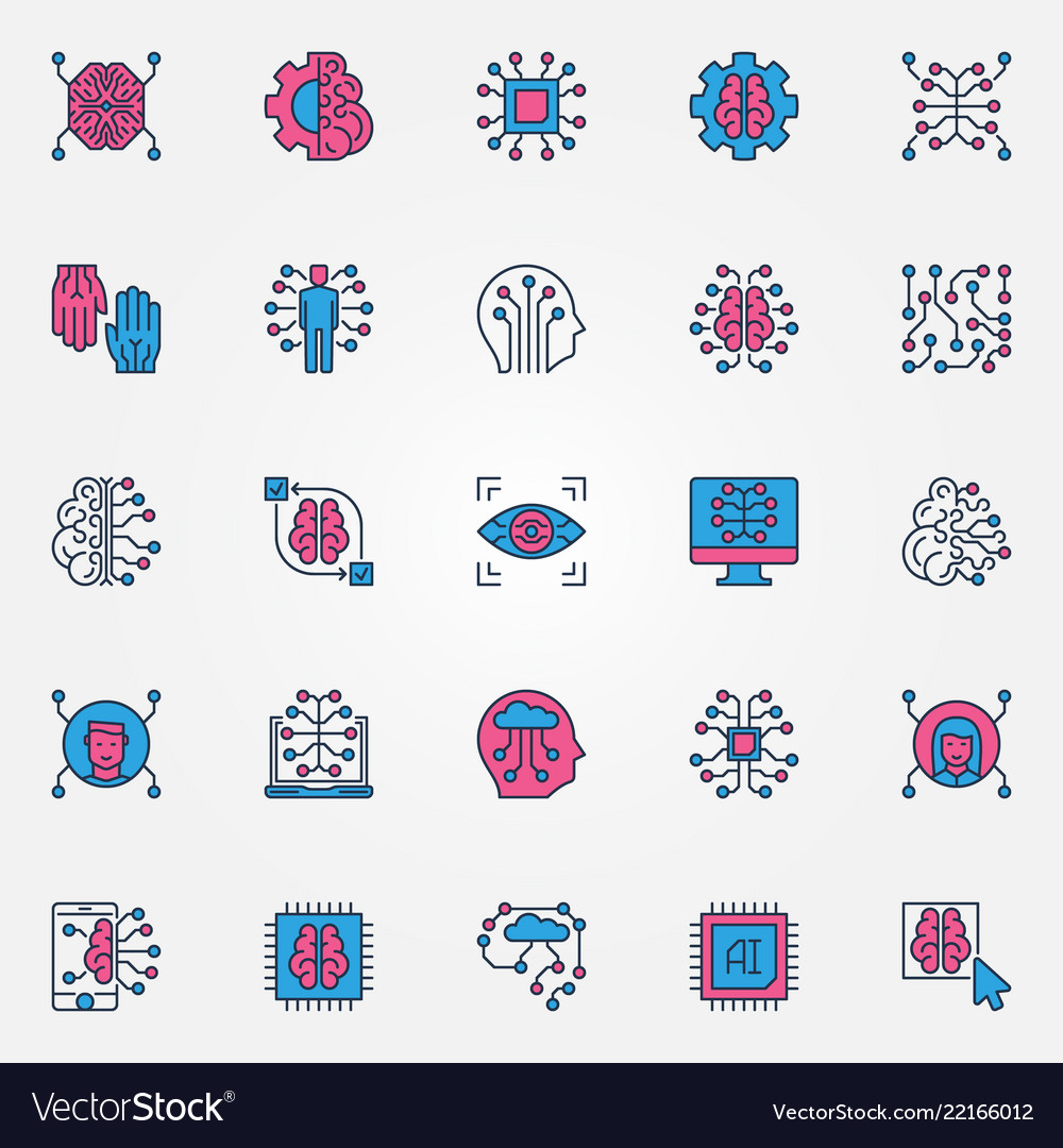 Artificial intelligence colored icons set - ai