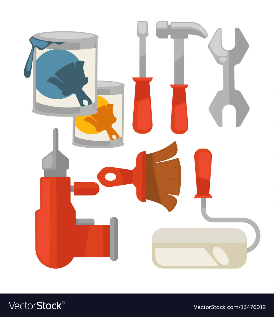 Building tools colorful set isolated on
