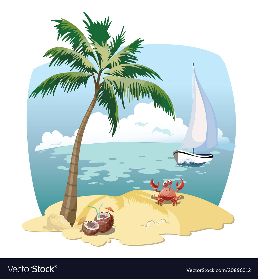 Cartoon island in the sea with a yacht