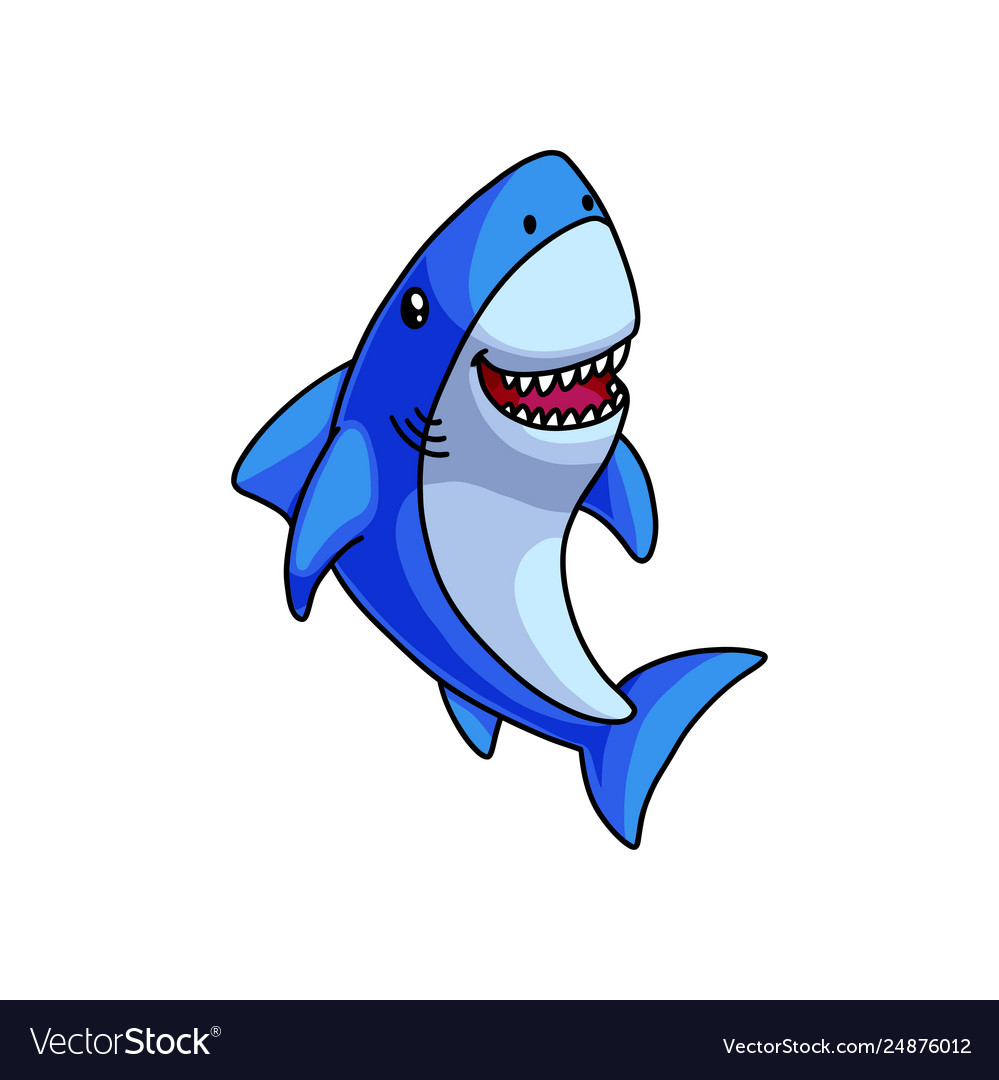 Cute colorful blue grey shark laughs with open