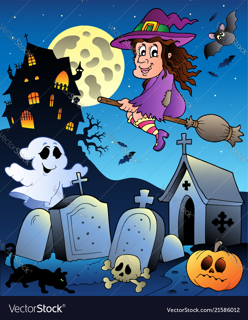 Halloween scenery with cemetery 5