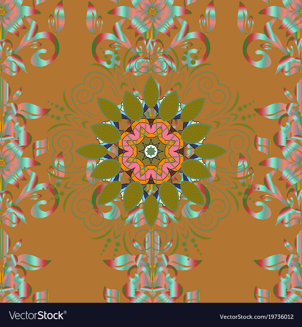 Hand painted mandala colored on brown green and vector image