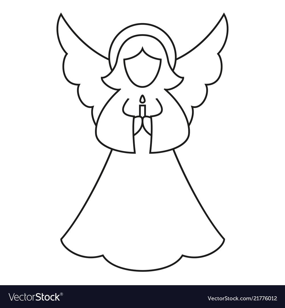 Christmas Angel.Line Art Black And White Christmas Angel