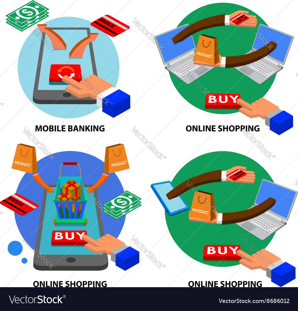 Online shopping set vector image