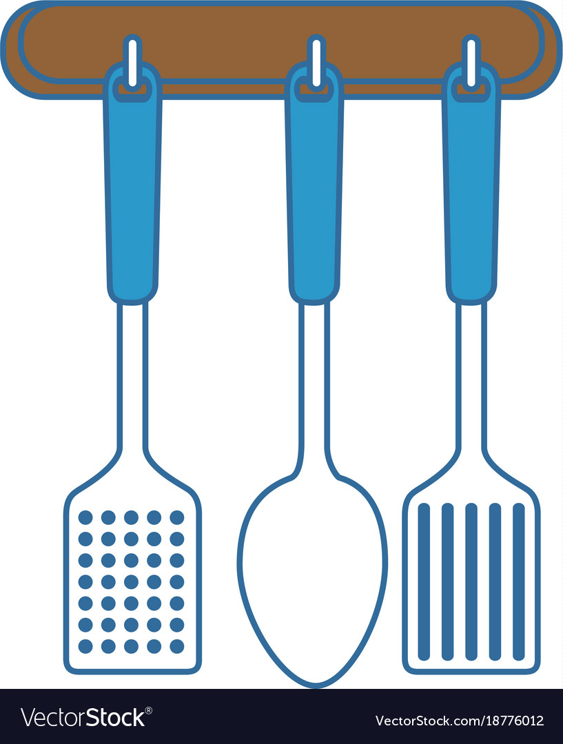 Set kitchen cutlery hanging Royalty Free Vector Image