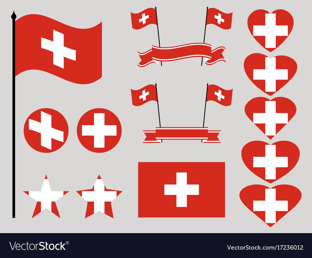 Switzerland flag set collection of symbols heart