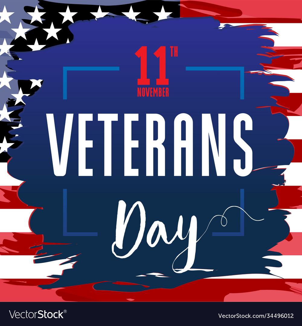 Veterans day card usa blue brush paint banner