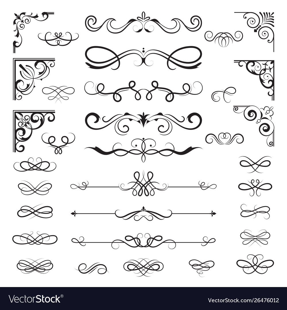 Vintage calligraphic borders floral dividers and