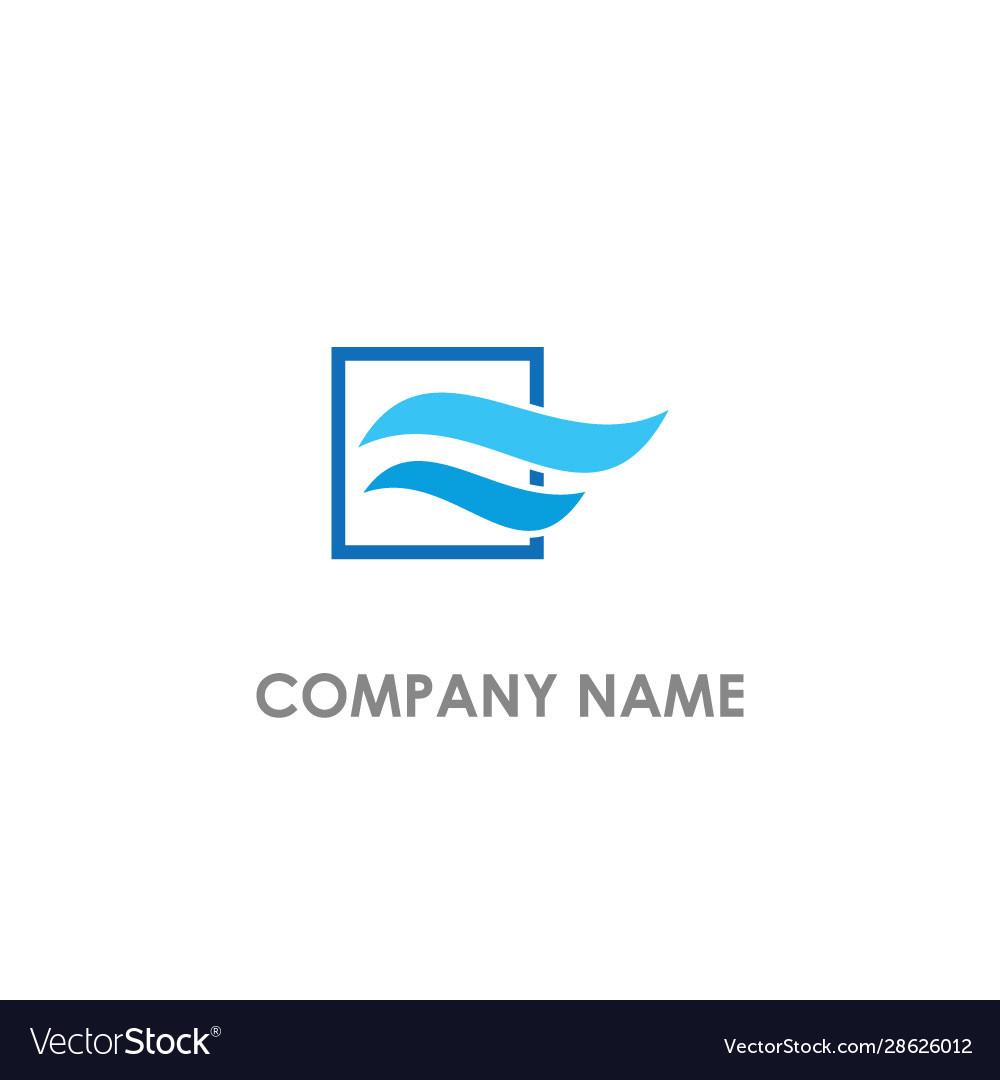 Wave air flow blue color logo