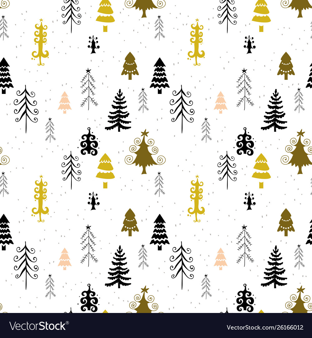 Winter forest trees pattern a woodland background