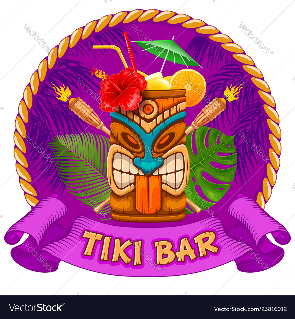 Wooden mug with tiki mask and signboard of bar