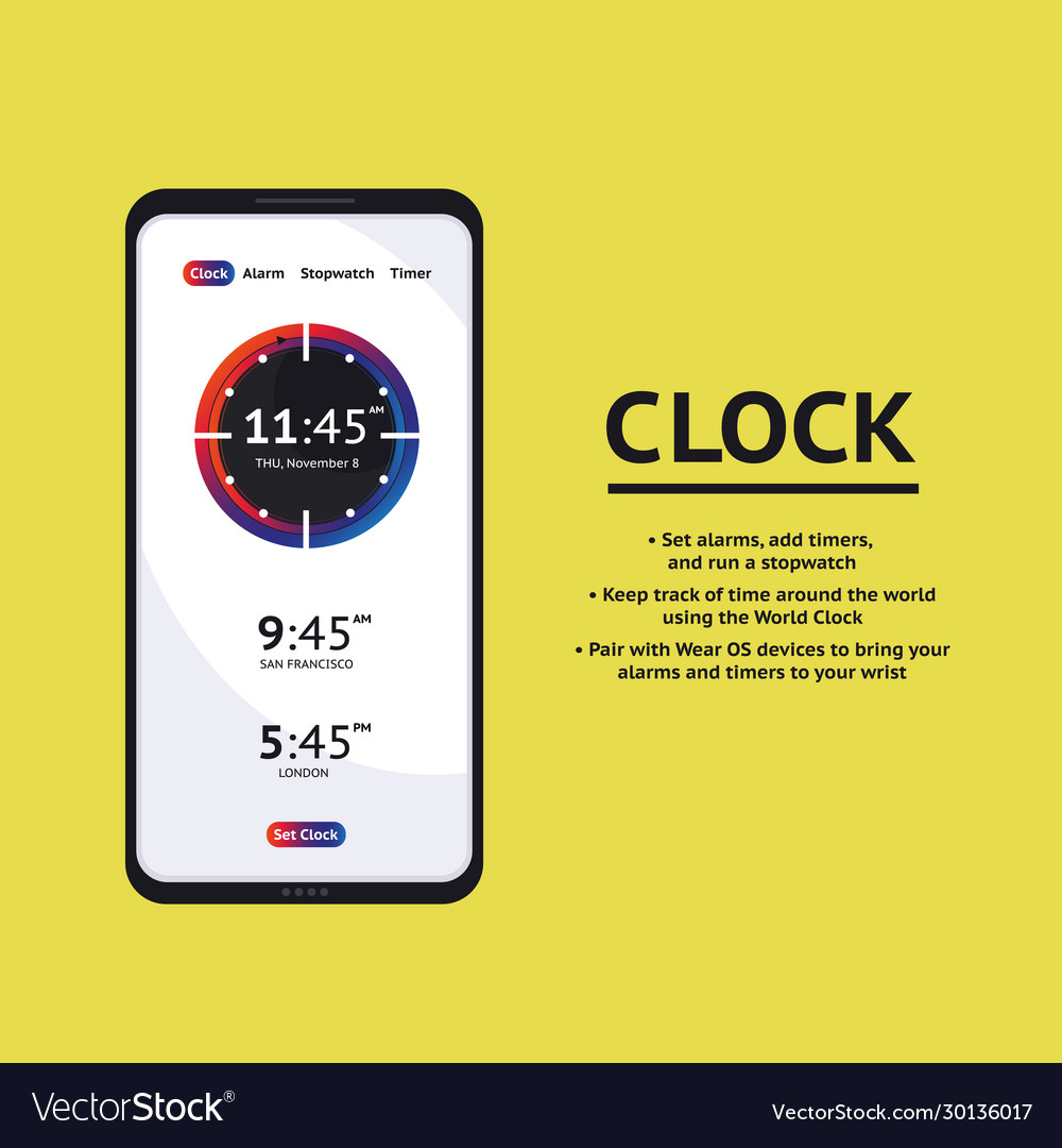 Alarm clock stopwatch timer ui mobile phone