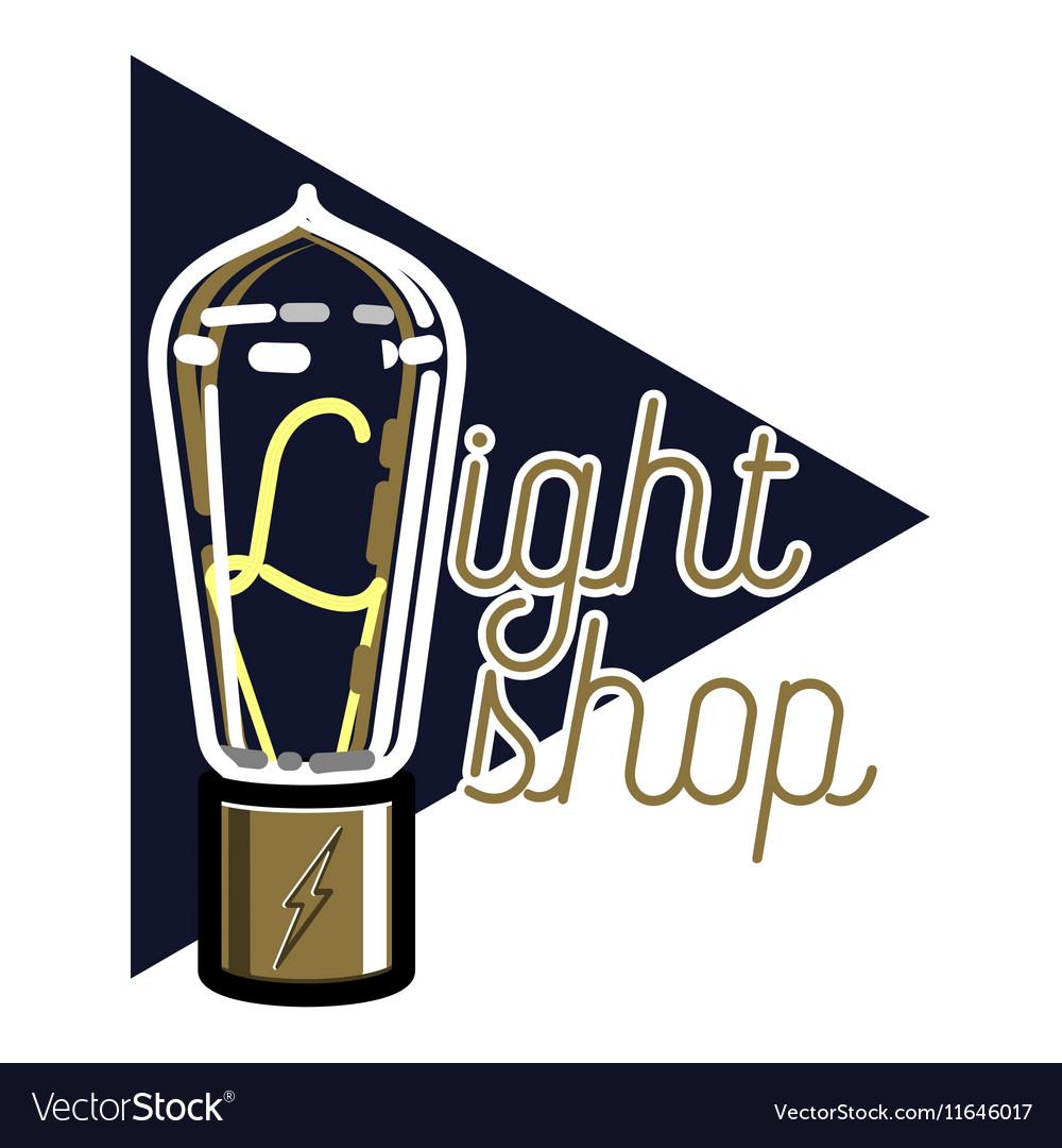 Color vintage lighting shop emblem