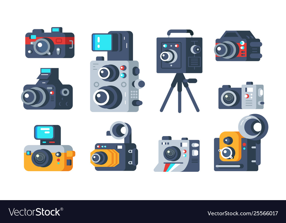 Different types cameras set