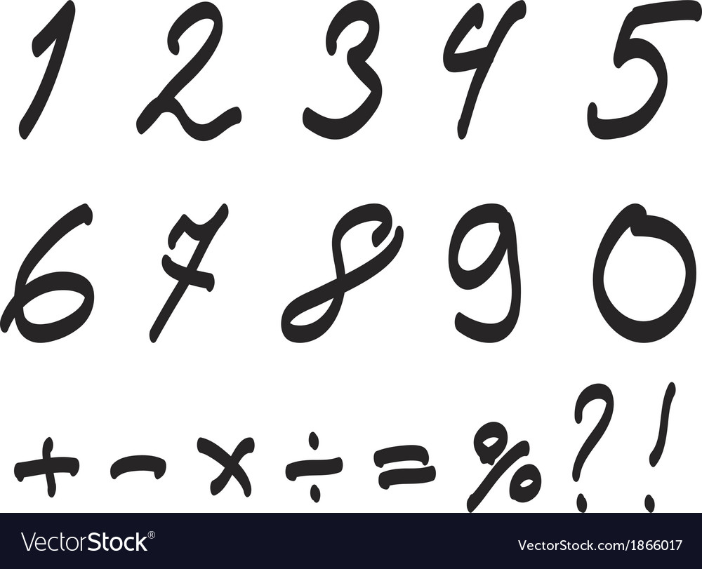 Font Handwritten by Toddler Arabic Numerals Set vector image