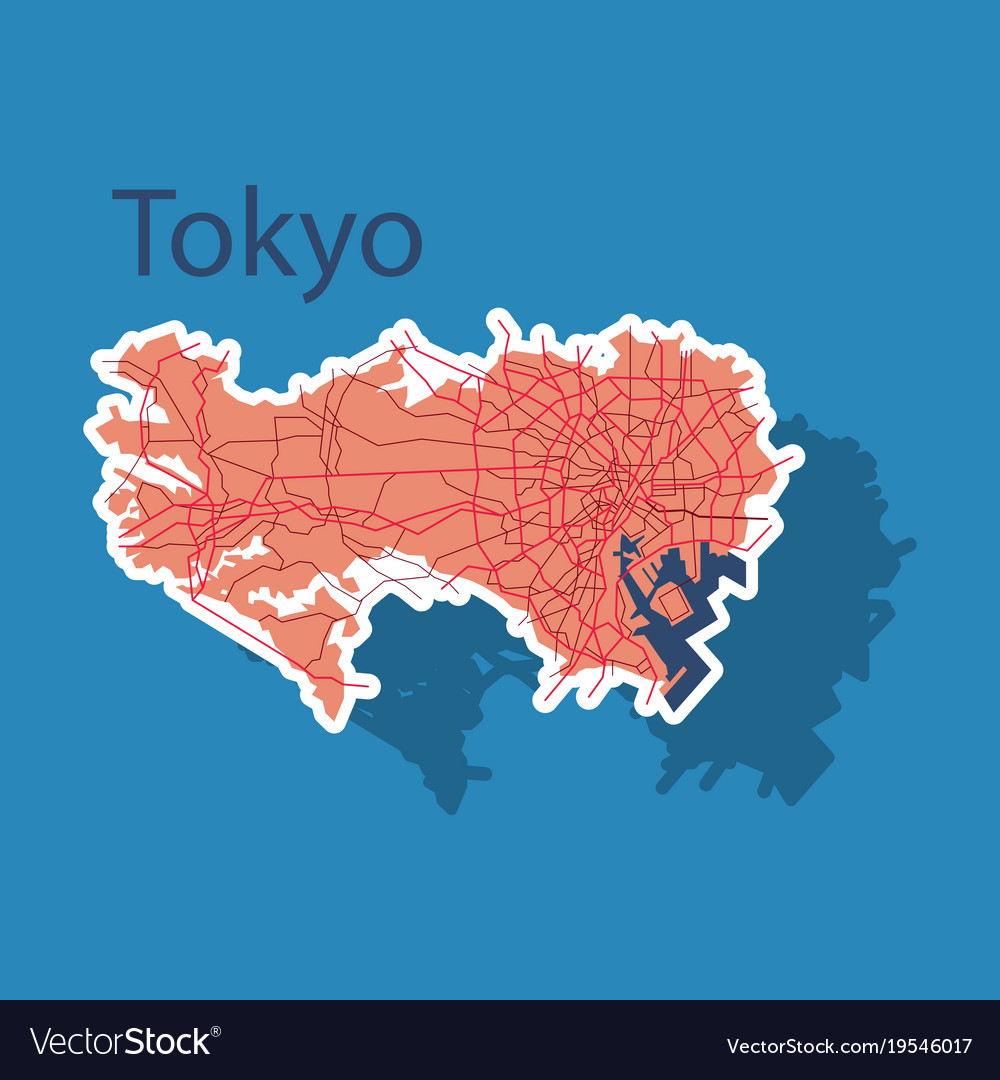 Japan tokyo top view map showing streets design vector image gumiabroncs Images