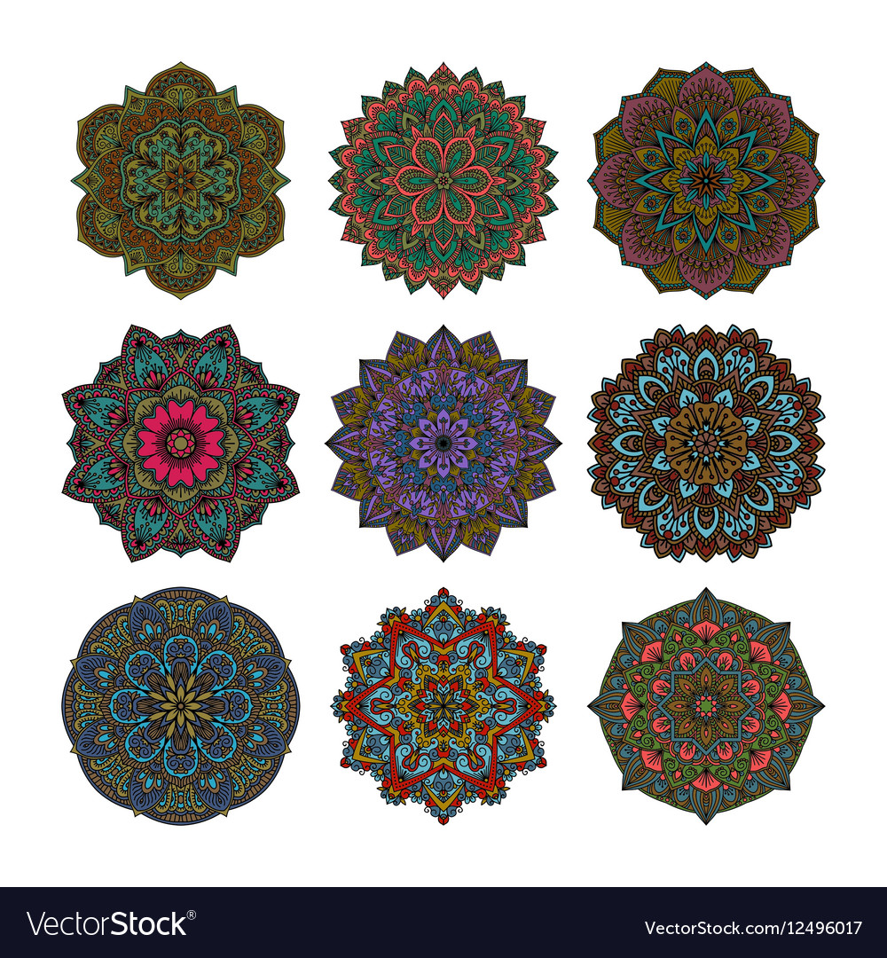 Mandala pattern flower set