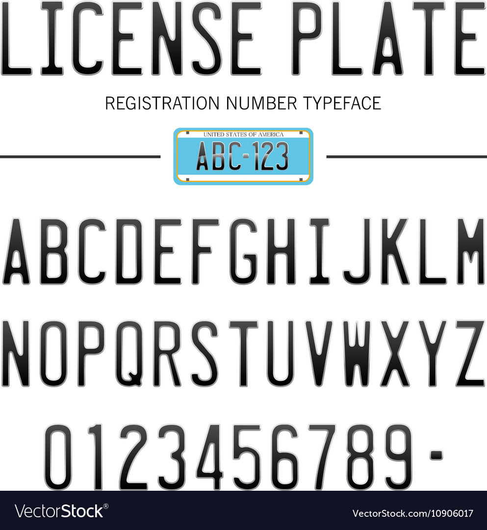 Modern License Plate Font For Registration Numbers