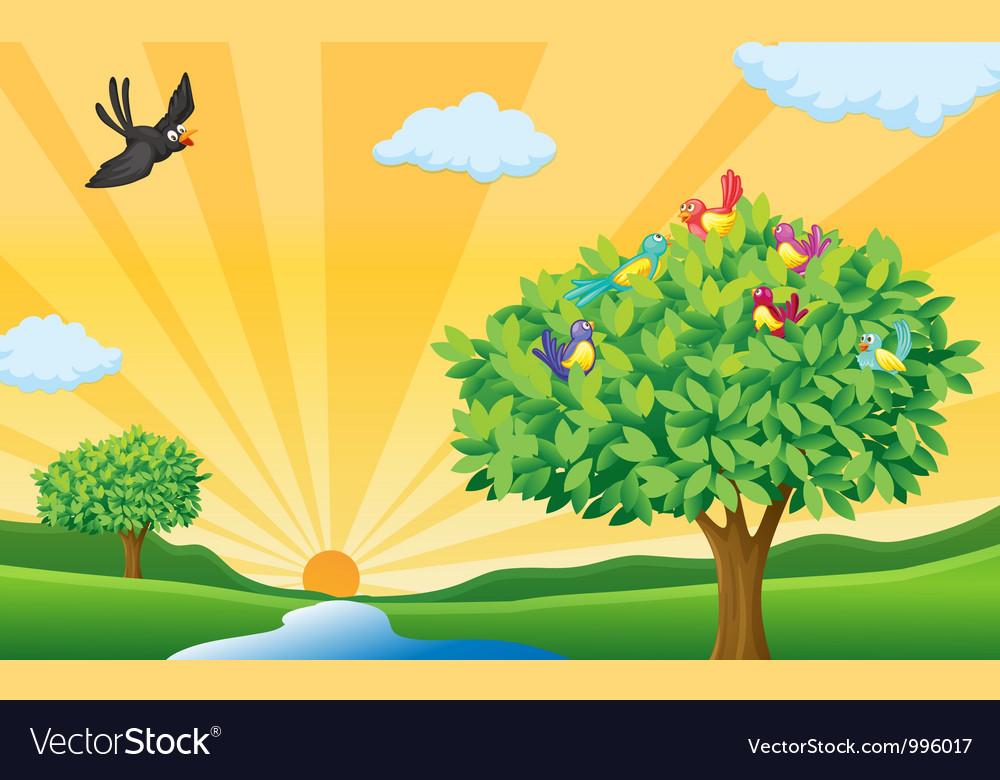 Рисунок с солнцем и деревьями строим