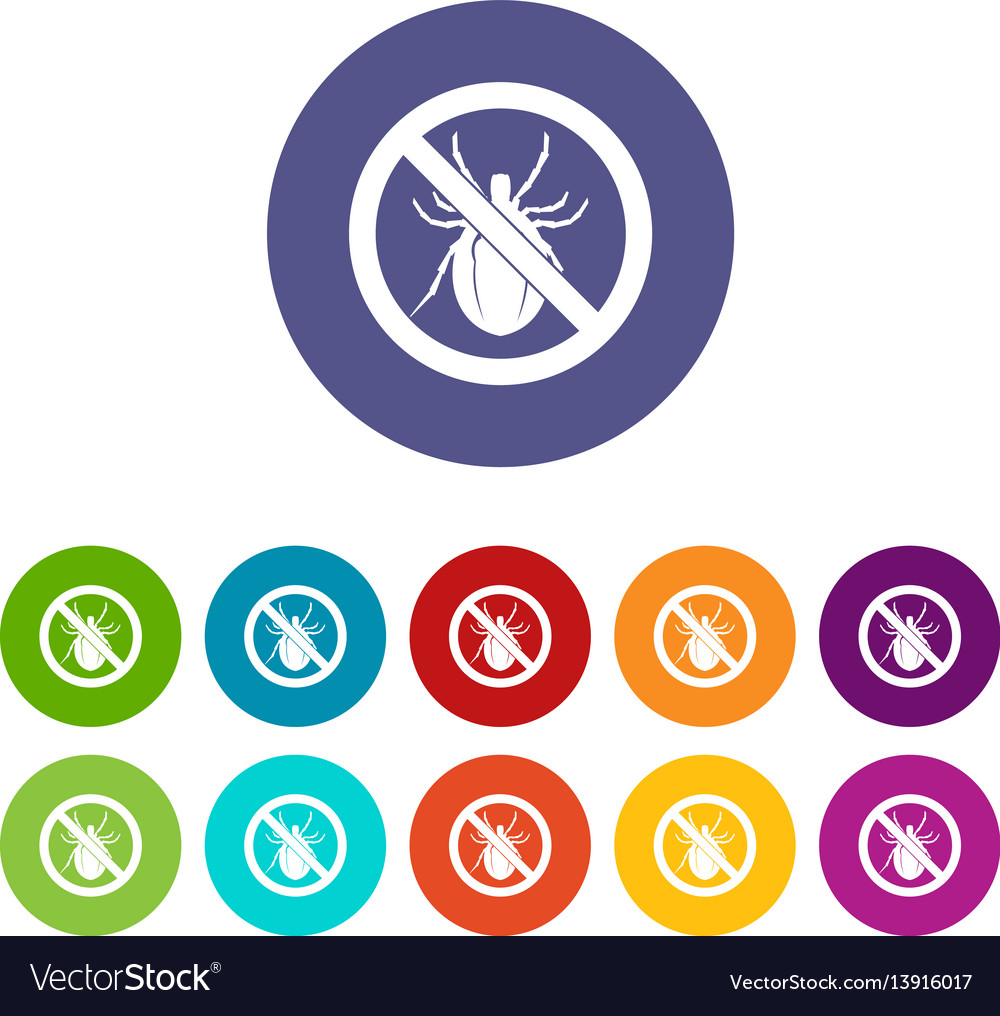 No bug sign set icons vector image
