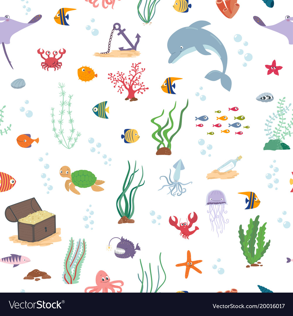 Sea fish sea animals and water plant seamless