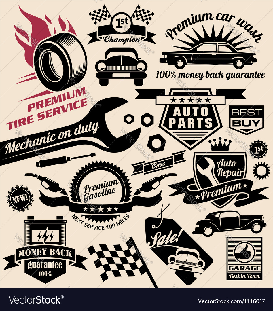 Set of vintage car symbols and logo designs Vector Image