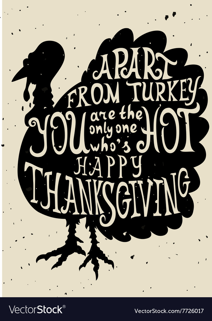 Turkey grungy card for Thanksgiving vector image