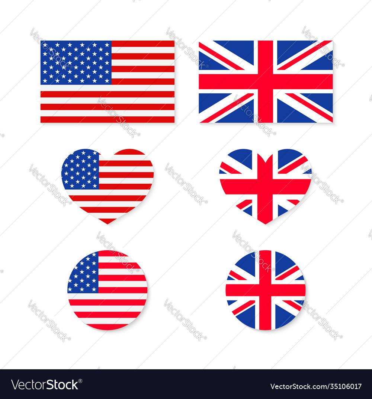 Uk and usa flags us-british union icon