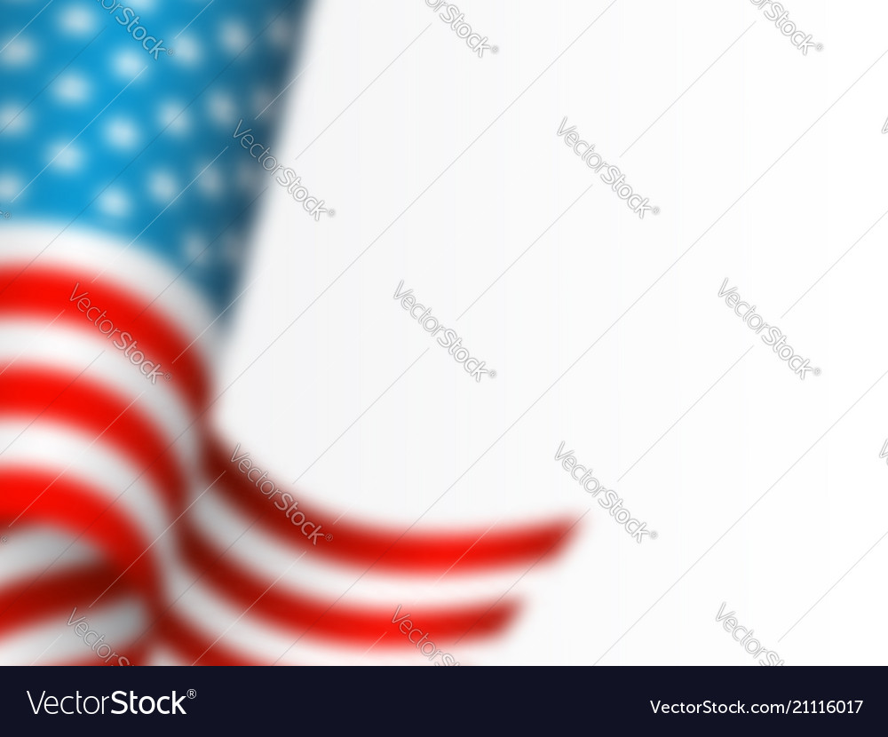 Waving flag of usa with blur effect white