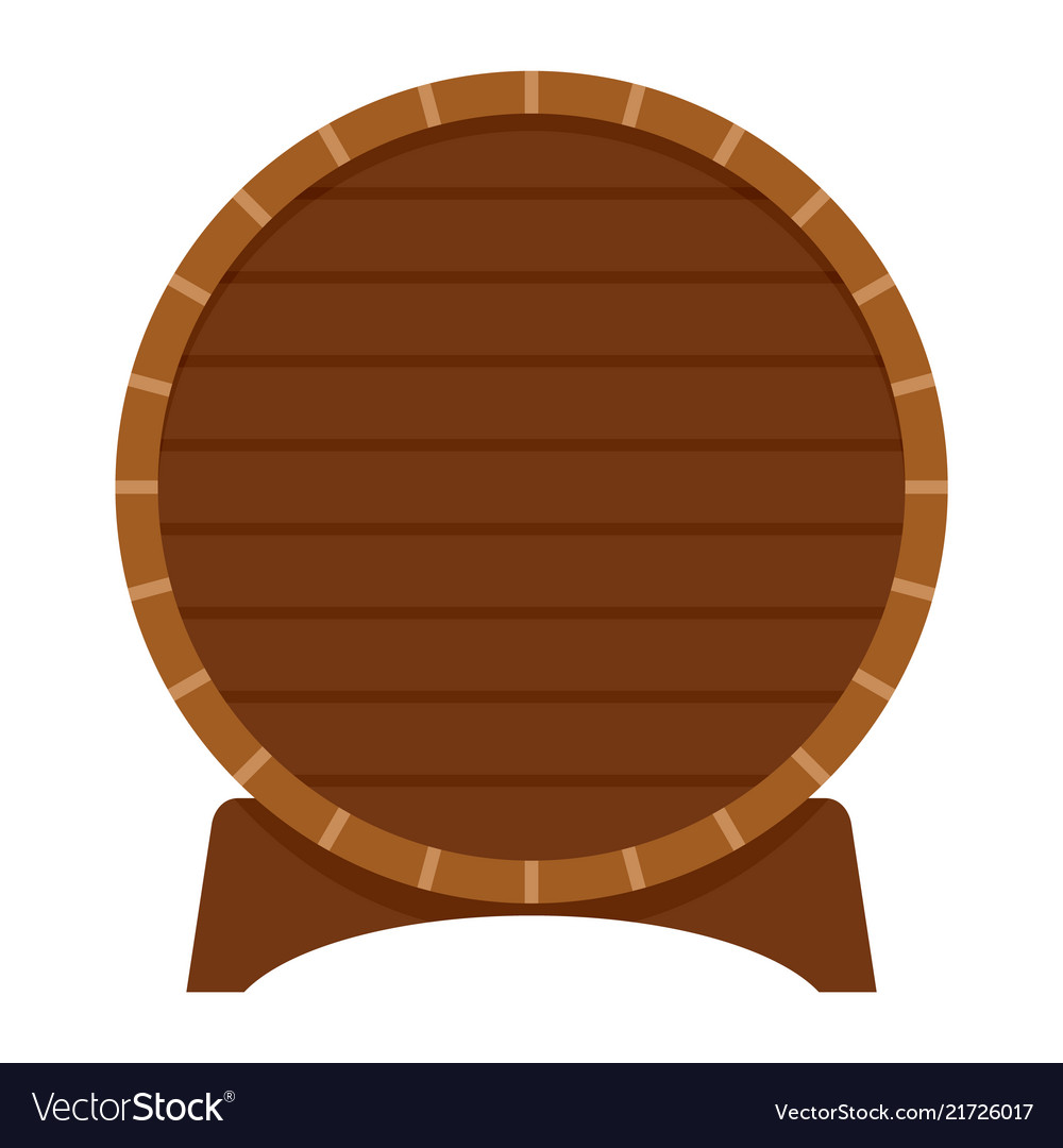 Wood barrel of beer icon flat style