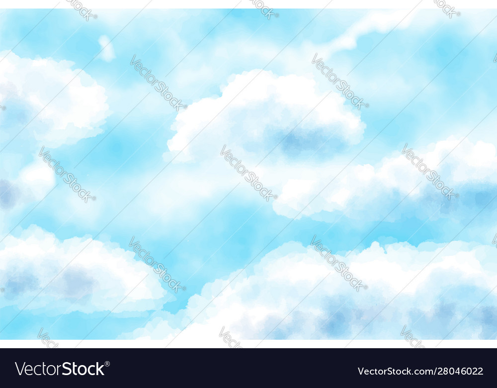 Blue watercolor cloudy sky background