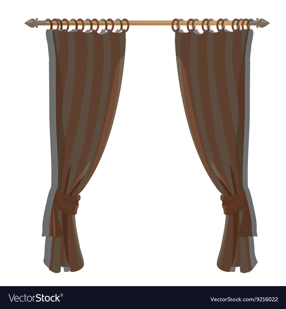 Brown kitchen curtains on the ledge decor