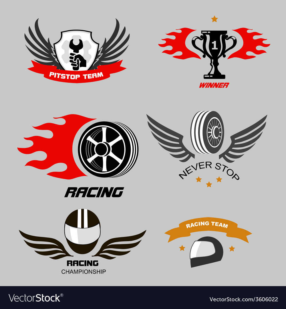Car racing badges and motorcycle service